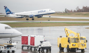 Jet Blue's inaugural flight lands at Worcester Airport.