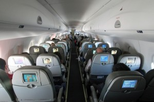 Embraer 190, current plane out of ORH (25 rows of 4 seats)